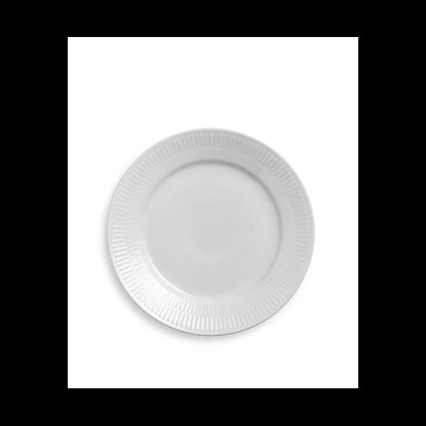 Hvid Riflet Desserttallerken 19 cm.